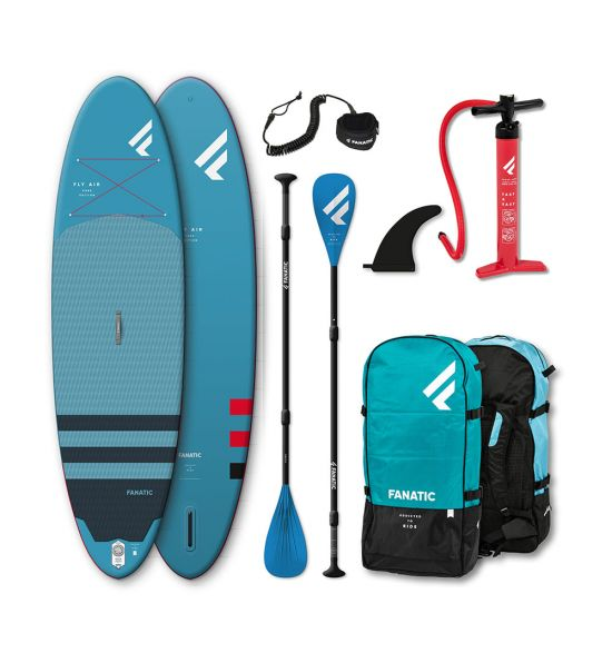"""Fanatic Fly Air 10'4"""" Blue 2021 Inflatable SUP package"""